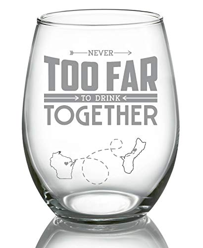 Guam Drink - Long Distance Relationships Gift For Bestfriend, Family - Never Too Far To Drink Together Wisconsin Guam (WI GU) - Long Distance Friendship Stemless Wine Glass 21 oz