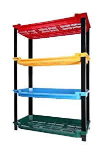 Large 4 Tier Toy Storage Plastic Shelf in Multicolor