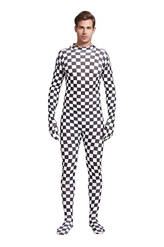Full Bodysuit Unisex Adult Costume Without Hood Lycra Spandex Stretch Zentai Unitard Body Suit (Large, Checker)