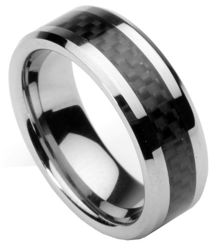 Carbon Fiber Beveled Tungsten Carbide Men Women Ring Wedding Band ...