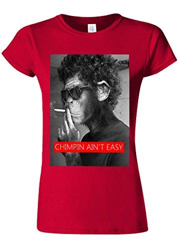衝突コースオーディション酸素Smoking Monkey Chimpin Ain`t Easy Novelty Cherry Red Women T Shirt Top-XL
