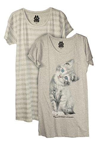 Humane Society Womens 2 Pack Cotton Nightshirt Pajamas Shirt Nightgown  Large  Grey Stripe