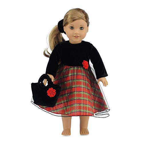 18 Doll Clothes - Beautiful Red Plaid Skirt with Black Velvet Top for Holiday or Party Outfit Includes Purse | Fits American Girl Dolls