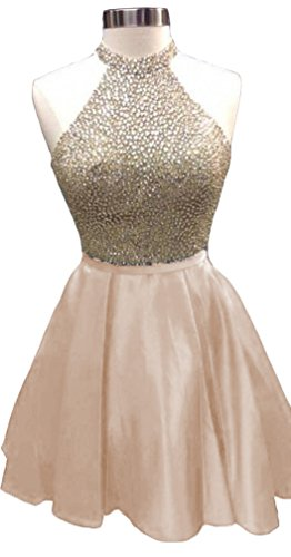 champagne a line short satin mini wedding dress - 7