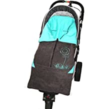 ByBUM - Footmuff 2 in 1 for Spring, Summer and Autumn/Fall; Universal for infant and child car seats, eg; Maxi-Cosi, for a pushchair/stroller or buggy; ANTHRACITE/AQUA by ByBUM