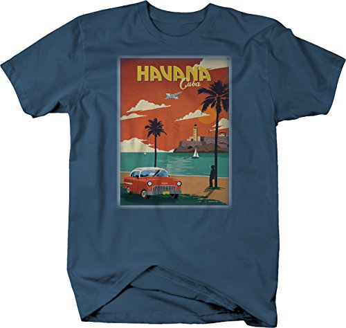 Havana Cuba Classic Chevy Belair Hotrod Car Postcard Tshirt - 3XL