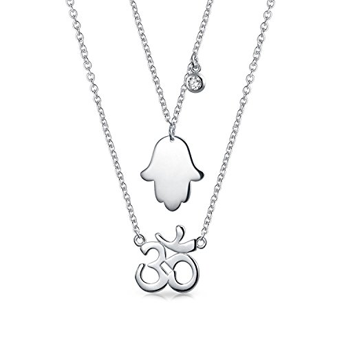 Yoga Sanskrit Symbol Hamsa Hand Of God Aum Om Ohm Pendant Necklace For Women For Teen 925 Sterling Silver