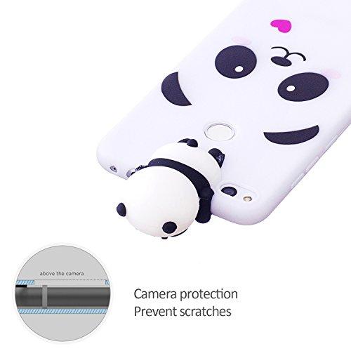 Funda Huawei P8 Lite 2017 , Carcasa Huawei P8 Lite 2017, Ultra Bonita Suave 3D Gel Silicona TPU Case Caja para Huawei P8 Lite 2017 5.2 E-lush Delgado 3D Tridimensional Cartoon Trasera Tapa [Patrón de Panda Blanco