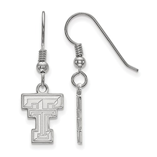 925 Sterling Silver Officially Licensed Texas Tech University College Small Dangle Wire Earrings by Mia's Collection