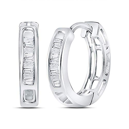 The Diamond Deal 10kt White Gold Womens Baguette Diamond Huggie Hoop Earrings 1/6 Cttw - 14k Diamond Hoop Gold Baguette
