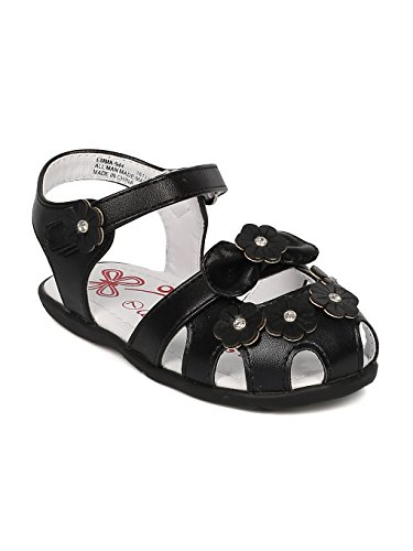 (Alrisco Girls Leatherette Rhinestone Embellished Flower Fisherman Sandal HB57 - Black Leatherette (Size: Toddler 5))