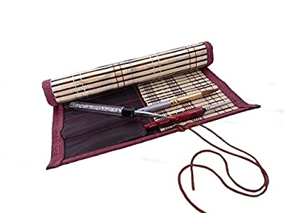 "Bamboo Calligraphy Brush Holder Rollup Protection 2422.5cm (9.59"") - Large"