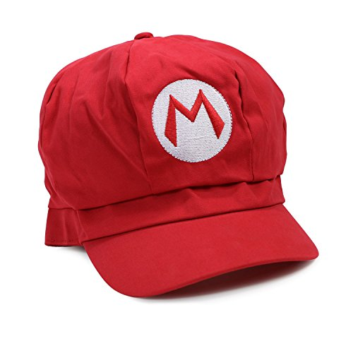 Landisun Costume Hat Anime Adult Unisex Cosplay Cap Red (Super Mario Costume For Men)