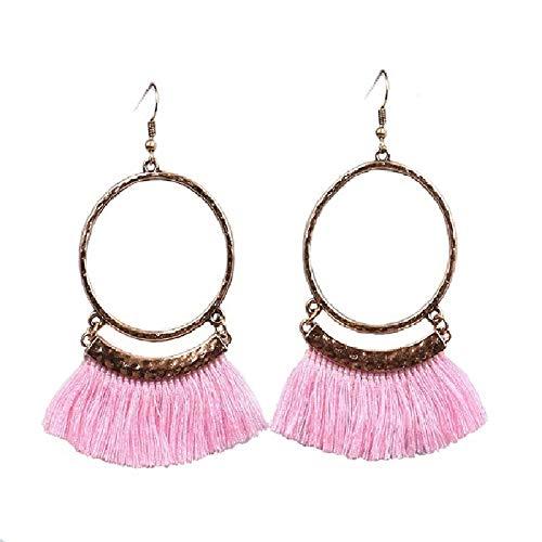 Livtor Fan Tassel Earrings Hoop Drop Dangle Earrings Fish Hook Earring for Daily Wear, Wedding, Party etc (Pink)