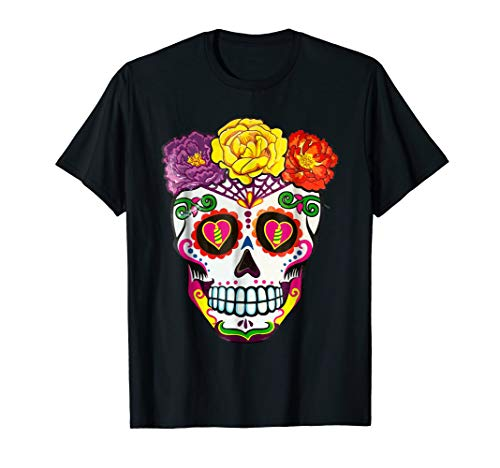 Colorful Flower Sugar Skull Day Of The Dead Costume Tshirt 2