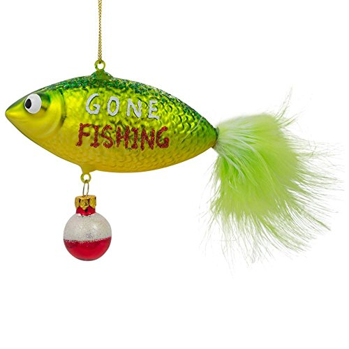 BestPysanky Gone Fishing Blown Glass Christmas Ornament 4.25 Inches Long