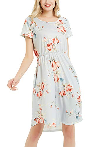 (NICIAS Women Floral Short Sleeve Tunic Vintage Midi Casual Dress with Pockets (Light Grey, X-Large/US 16-18))