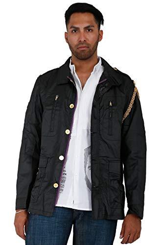 Twill Coated Jacket - Blanco Label Men's Coated Black Twill Militia Jacket, Gold Chain & Printed Back Size 4XL