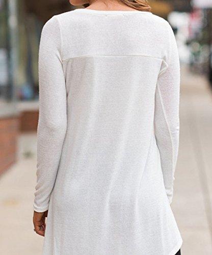 Manches Tops Blanc Tunique Longues Printemps et Long Hauts Femmes Rond Fashion JackenLOVE Casual Blouse Shirts Jumpers Tees Pulls Col Automne T 6qZSAawSWR