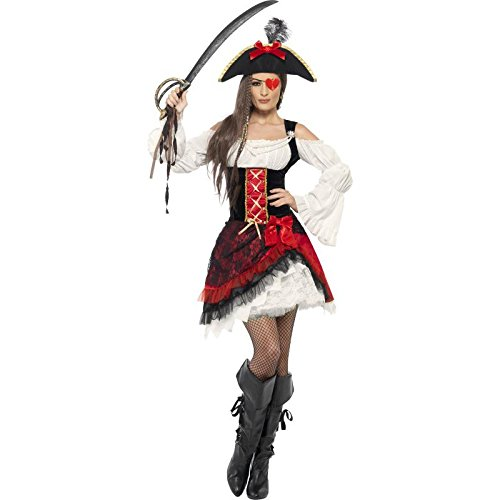 Smiffys Pirate Wench Costume (Smiffy's Women's Glamorous Lady Pirate Costume, Dress and Hat, Pirate, Serious Fun, Size 10-12, 23281)