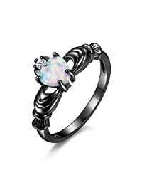 Heart Shaped Opal Black Gold Engagement Proposal Promise Ring for Women