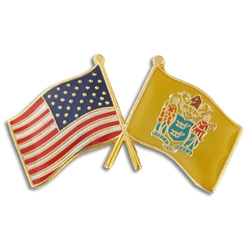 (PinMart New Jersey and USA Crossed Friendship Flag Enamel Lapel Pin)