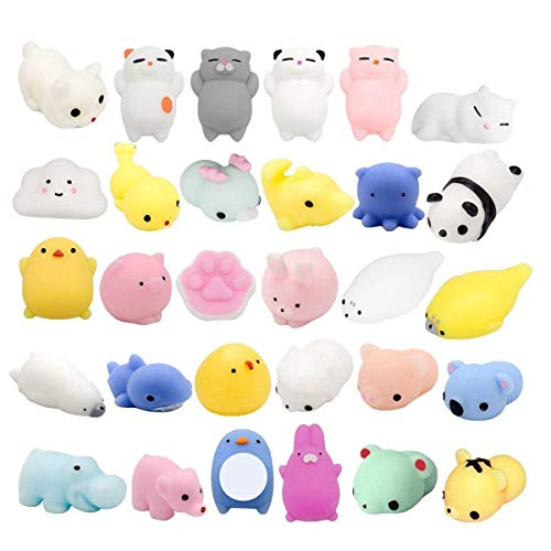 Fstop Labs 30PCS Mochi Squishy Animal Stress Toys, Mini Animal Squishy Stress Relief Animal Toys Mochi Squeeze Toys Mini Seal Bear Cat Tiger Pig Smile Cloud Squishies Random Color]()