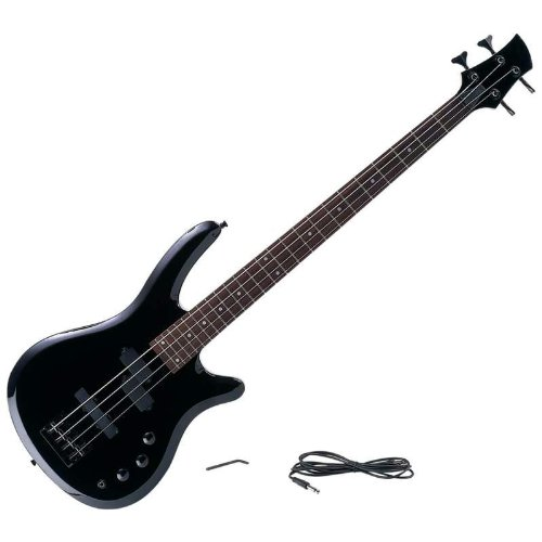 New Maxam 43 Inch Electric Bass 4 String Guitar 2 Tone Controls Phone Jack Strap Buttons Amp Cord by Maxam