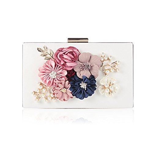 Shoulder White Handbag Pearl Bag Dinner Bag Banquet Party Flower Women Bag FxYOY