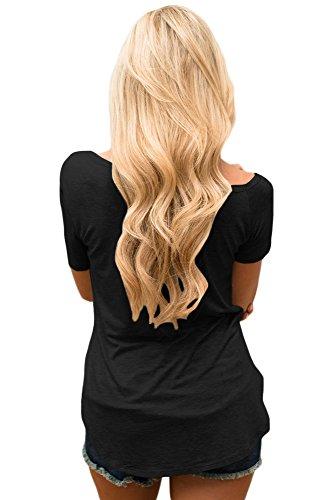 Nuovo nero a maniche corte bandiera americana amore stampato camicetta estate camicia top casual Wear taglia UK 12EU 40