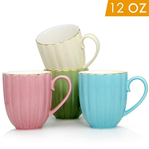 12 OZ Pumpkin Porcelain Coffee Mugs, Smilatte M102 Ceramic Cup with Hanlde for Tea Latte Cappuccino, Set of 4, Multi-Color