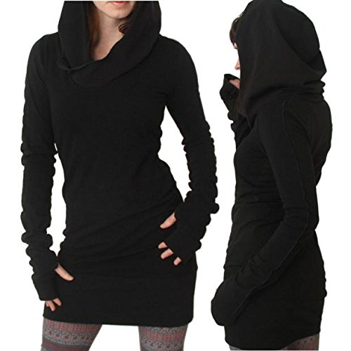 Napoo Women Fashion Long Sleeve Solid Color Hooded Slim Fit Swearshirt Dress (M=(US S), Black) by Napoo