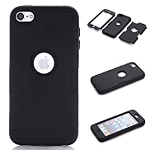 iPod Touch 5 Case,iPod Touch 6 Case, NOKEA Layered 3in 1 Hard PC Case Silicone Shockproof Heavy Duty High Impact Armor Hard Case for Apple iPod Touch 6 5th Generation (Black)