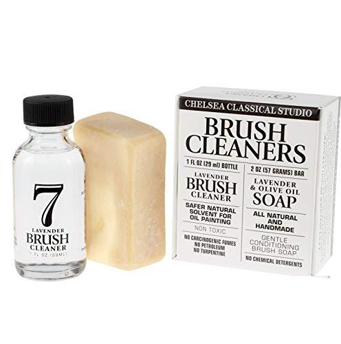 Chelsea Classic Studio Brush Cleaner Sampler Set - 1oz. Lavender Brush Cleaner & Lavender & Olive Oil All Natural Brush by Chelsea Classical Studio