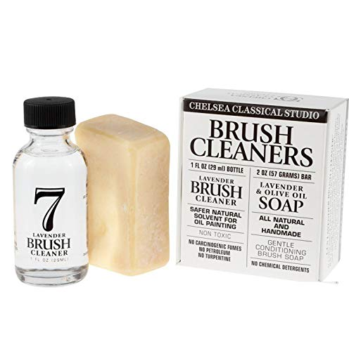 Chelsea Classic Studio Brush Cleaner Sampler Set - 1oz. Lavender Brush Cleaner & Lavender & Olive Oil All Natural Brush
