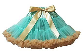 Petitebelle Vestido Lazo de Color Dorado Y Azul Pettiskirt tutú para niña Ropa 1–8Y Dorado Aguamarina X-Small
