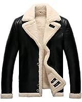 セレブレザー 本革  ムートン毛皮羊皮ラムレザージャケットコート ファー ボア JKT ブラック 黒 M-4XL