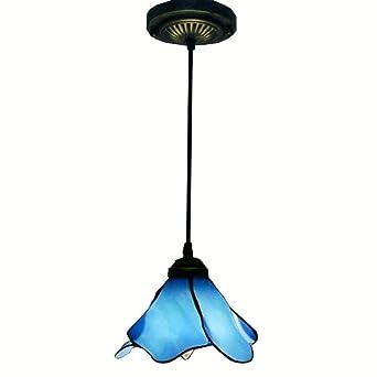 Fleurs Suspension Motif De Bleu Tiffany En Pétales Verre 5L34AjR