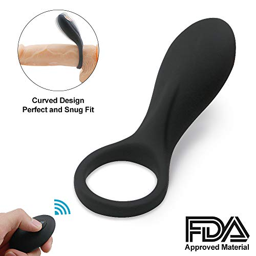Vibrating Penis Ring, Remote Control 9-Speed Cock Ring Vibrator Medical Silicone Waterproof Rechargeable Powerful Vibration Sex Toy for Male and Couples (Black)
