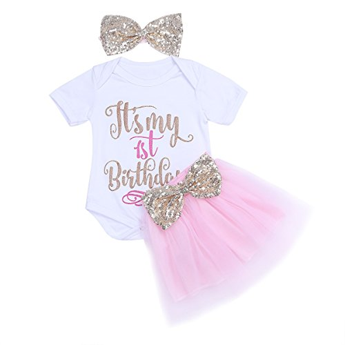 TiaoBug 3Pcs Baby Girls My 1st Birthday Princess Outfits Romper with Tutu Skirt Sequins Bow Headband White & Pink 9-12 (Baby's First Birthday Outfit Girl)