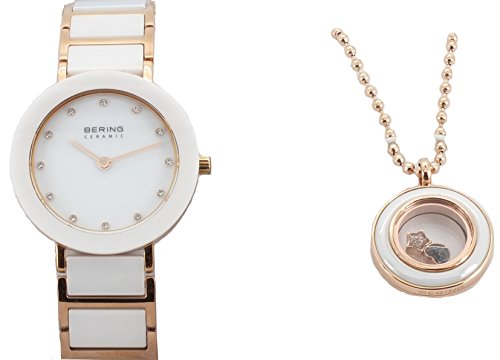 BERING Womens Watch w/ Necklace Gift Set, 11429-766-GWP-02