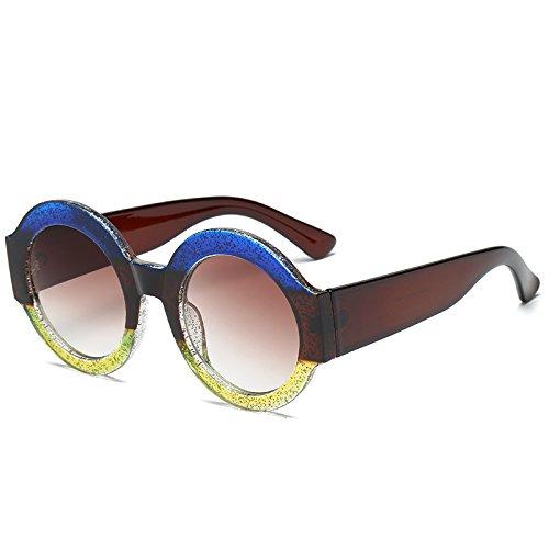 Marrón Frauen Brillen Für Weiblich Objektiv Rahmen Marke Sonnenbrille Marrón Sonnenbrille Moda Spiegel Azul KXLEB amarillo Runde EnqBpzz6