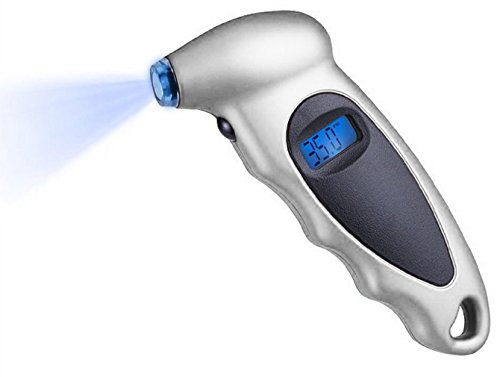7TECH Digital Tire Pressure Gauge 150 PSI 4 Settings for Car Truck Bicycle with Backlit LCD and Non-Slip Grip, Silver (1 Pack)