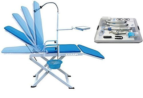 Super Dental Portable Folding Chair Mobile Unit +Push Type High Low Speed Hand Kit 4H by Dental Market