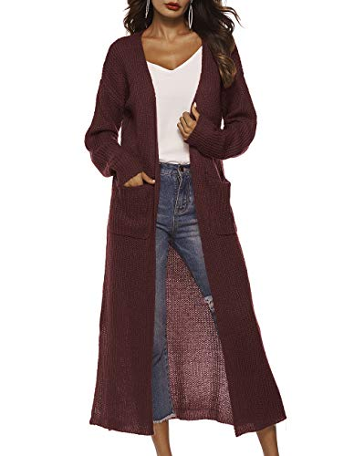 Women's Classic Open Front Flowy Lightweight Long Hooded Cardigan Sweater for Fall