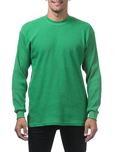 Kelly Ribbed Green (Pro Club Men's Heavyweight Cotton Long Sleeve Thermal Top, X-Large, Kelly Green)