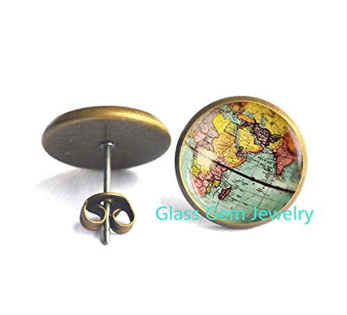 World Map Globe Earrings , Earth Earrings , Globe Earrings , Map Jewelry, Charming globe world travel adventurer gift, Antique Map Earrings,Q0084