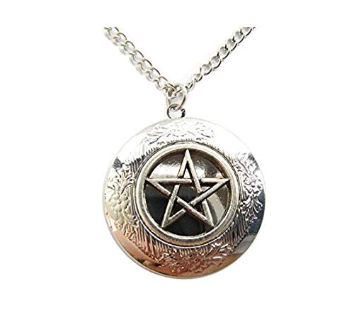 Mix Order Pentagram Protection Locket Necklace, Pagan Symbol, Wicca, Wiccan Jewelry,Supernatural,Ancient Silver