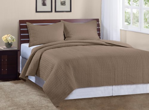 - Marcini Luxury King Size 3-piece Cotton Quilt Bedspread Set, Latte