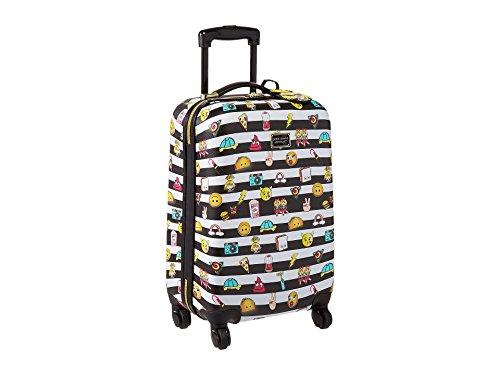 Betsey Johnson Emoji 3 Hardside Suitcase 20 inch, Black/White by Betsey Johnson